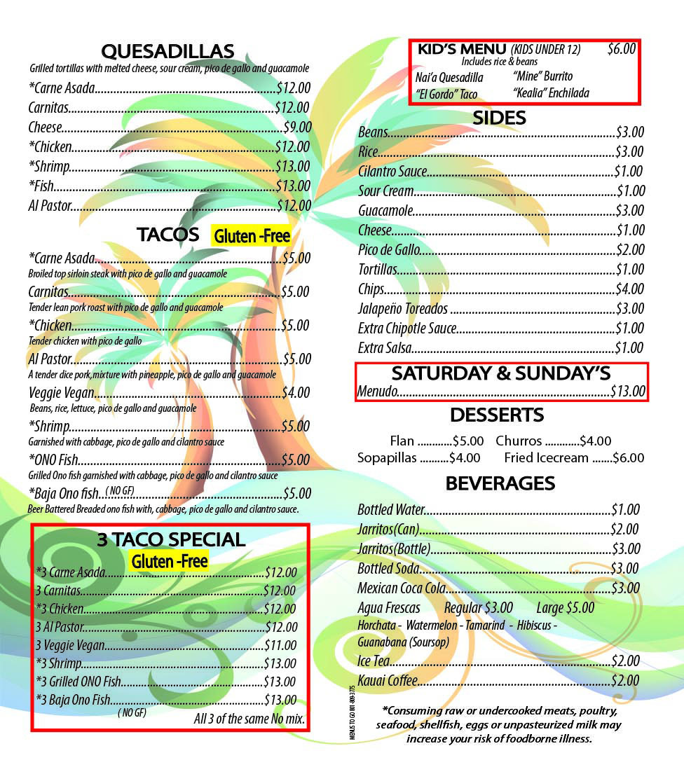 TRIFOLD MENU front